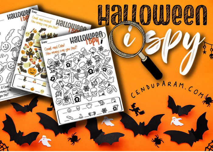 halloween i spy picture flat lay