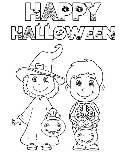 halloween costume skeleton coloring page