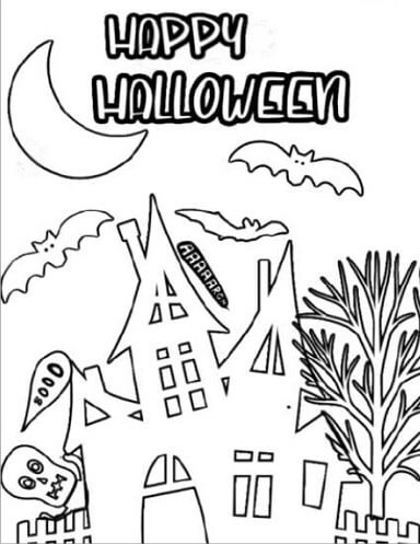 haunted house Halloween coloring page