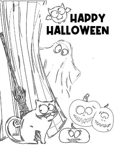 cute kindergarten Halloween coloring sheets