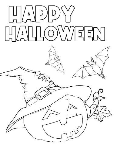 cute pumpkin Halloween coloring page