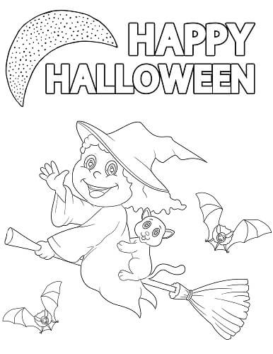 witch Halloween coloring page
