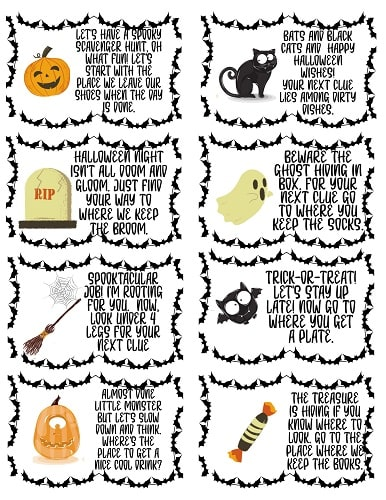 Halloween scavenger hunt with clues and riddles