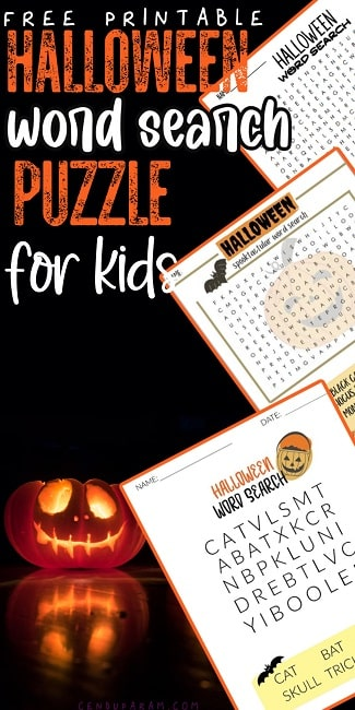 Halloween word search puzzles for kids and adults