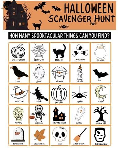 Halloween scavenger hunt in the classroom or school
