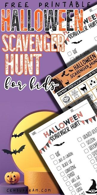 printable kids Halloween scavenger hunt