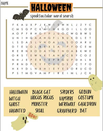Halloween word search pdf