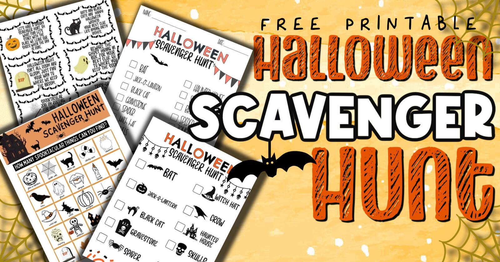 free Halloween Scavenger Hunt pdf printable